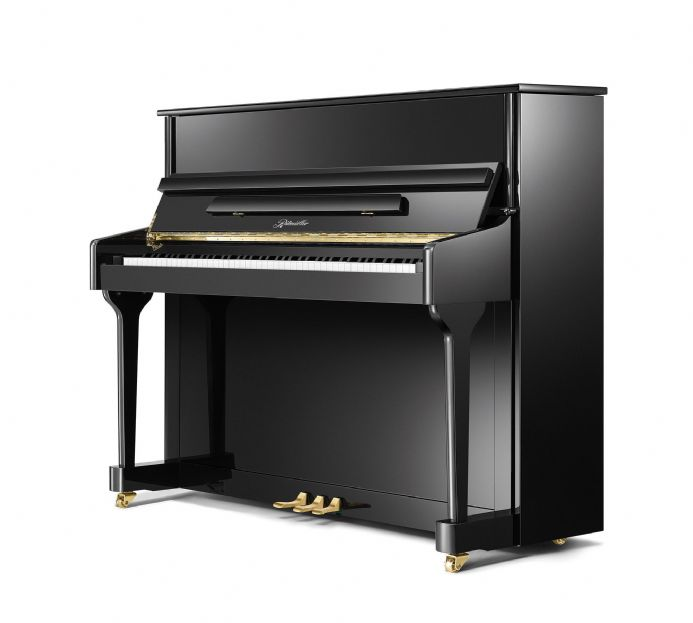 Ritmuller 118cm Traditional Upright Piano Black with Brass NEW